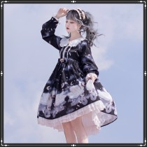 Swan dream~Sweet Print Long Sleeve Lolita OP Dress