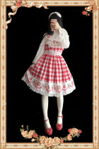 【Infanta】 Strawberry Gingham Pure Cotton Lolita JSK Dress