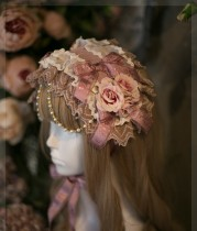 SweetDreamer Little Dooley New Version~Sweet Daily Vintage lolita headband white rose bow