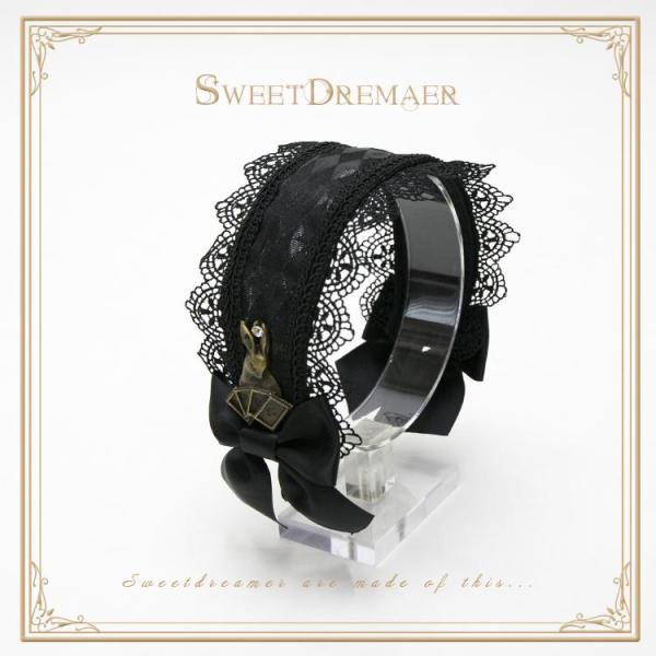 SweetDreamer~ God of Gamblers, Alice~Lolita headband whit lace bow