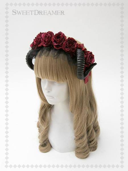 SweetDreamer The devil's bride~Sweet Daily Vintage lolita headband white rose bow