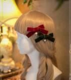 SweetDreamer Daily velvet pearl bow Lolita hairpin /lolita hairclip