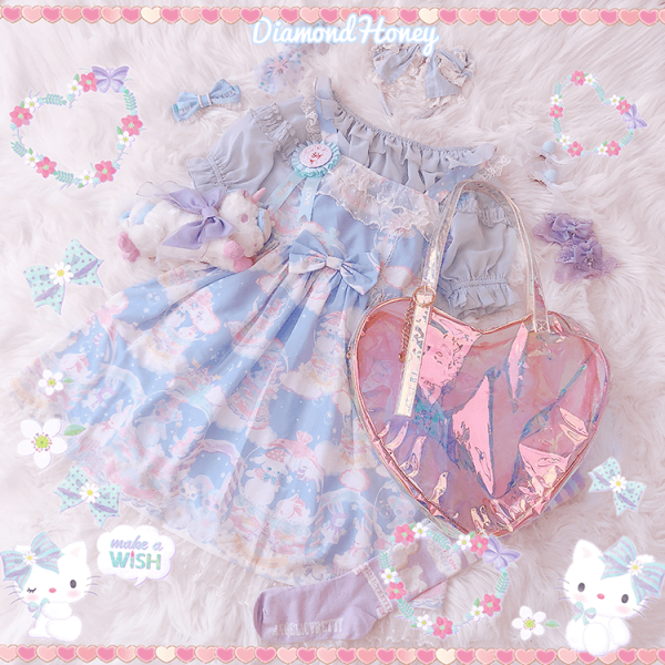 Dreamy Snowball~ Sweet Printed Lolita Jumper Skirt Pre-order