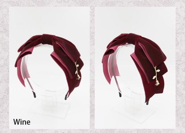 SweetDreamer  Hand made The Little Prince's Rose Velvet Bowknot Vintage headbow /KC