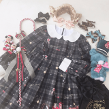 Christmas gift box~Lovely Girl Grid Long Sleeves Lolita OP Dress