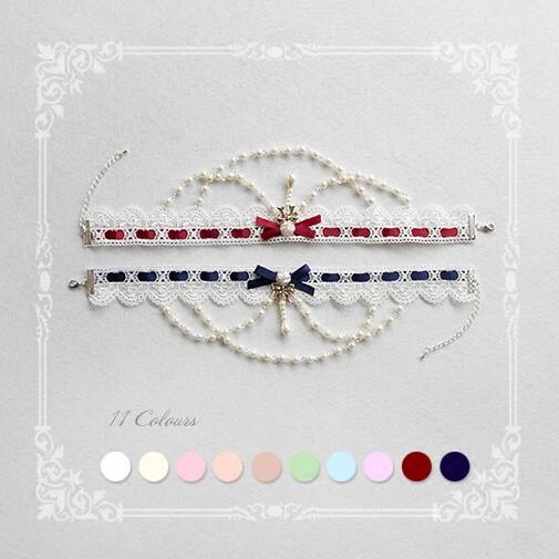 SweetDreamer Rose's Bride~lolita chorker ~Elegant water-soluble lace chain Lolita necklace