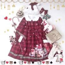 Christmas gift box~Lovely Girl Grid Long Sleeves Lolita OP Dress