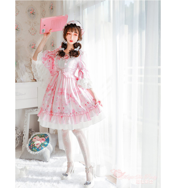 Swan lake~Sweet  Printing Daily Lolita One piece /OP