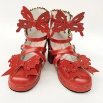 Custom zise - Sweet Lolita Bowknot shallow mouth round head square heel shoes