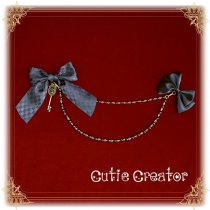 Sweetdreamer Walpurgis Night black cat Bow chain Lolita brooch
