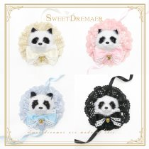 Sweetdreamer Chinese style cute fat panda lace pill bow pin hair clip three uses