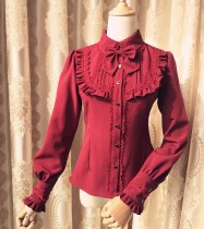 Lolita High collar Bubble sleeves with velvet shirt for winter
