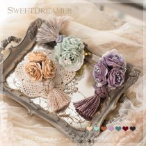 Sweetdreamer Vintage tassel rose flower brooch hairpin