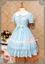 Strawberry Witch~Candy chiffon dress ice cream puffs doll collar op dress