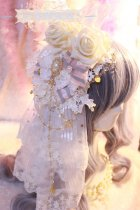 【Night Tales】Elegant lolita headdress flowers hairclip with veil