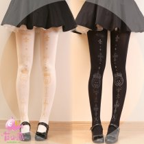 【MuFish】Crown Bear Cross Velvet Print Lolita Tights