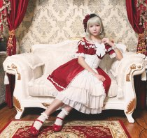 *Neverland*Colorful fairy tale high waist short sleeve Lolita dress
