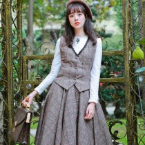 **Magic school*Vintage British Style Wool Quilted Vest+Skirt