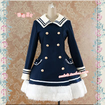f5621e919270 Strawberry Witch~Custom Size Available Navy Style Woolen Coat With Cape
