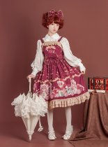 Gift box bear~Print High Waist Lolita Jsk Dress