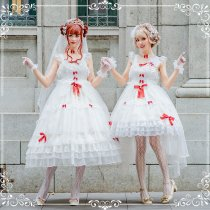 Bride's fairy dress~Pure White Court Bride Lolita Jsk Dress