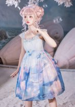 The sea of the sky~Print Lolita Jumper skirt