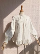 Cotton Jacquard Stand Collar Lolita Long Sleeve Blouse