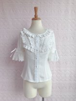 Sweet chiffon lace and short sleeve lolita blouse