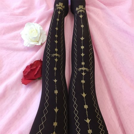 Hot Stamping Printing Pelvet lolita Tights