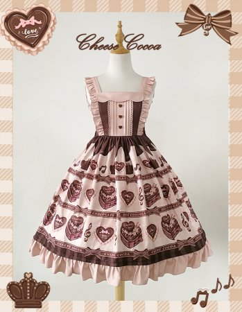 Chocolate love song~Print High Waist Lolita Jsk Dress
