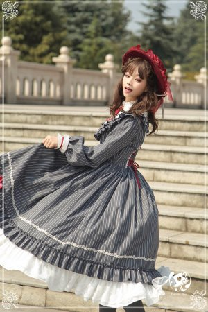 Florentine traveler~Elegant Stripe Open-front Lolita OP Dress
