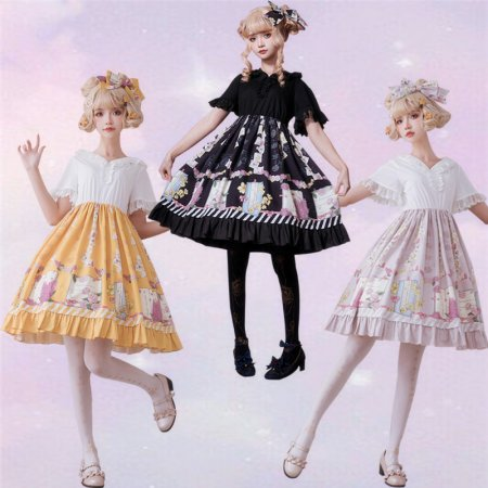 Spring cane~Sweet Lolita Dress with Short Sleeves