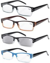 Reading Glasses Stylish Two-Tone Frame 4-pack Includes Sunshine Readers R012