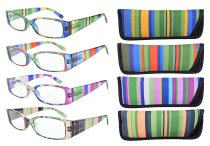 Reading Glasses 4-Pack Striped Design Temples with Rectangular Frame Readers Women R040-Stripe Mix-4pcs