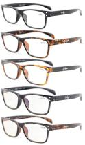 Reading Glasses 5-pack Sport Style Design with Quality Spring Hinge Temples Included Computer Glasses R090-5pc-Mix