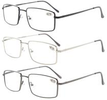 3-pack Full-rim Readers Rectangular Spring Temple Large Metal Reading Glasses  R15023-3pc-Mix