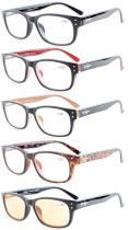 Reading Glasses 5-pack Classic Retro Design Spring Hinges Include Computer Readers R094-Mix