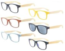 Reading Glasses 6-pack Stylish Retro Spring Hinge Bamboo Temples with Color Frame R093-Mix-6pcs
