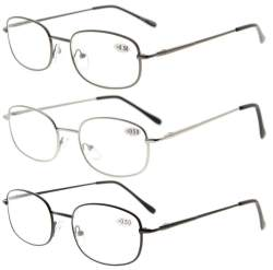 3 Pair Metal Frame Spring Hinged Arms Reading Glasses R3233-3pcs-Mix