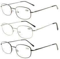 3 Pair Metal Frame Spring Hinged Arms Reading Glasses R3233-3pcs-Mix