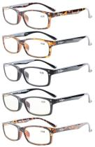 Reading Glasses 5-Pack Classic Rectangle Design Frame Reader Include 2 Computer Readers R103-5pc-Mix
