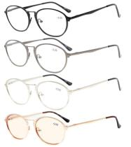 4-Pack Spring Hinges Retro Reading Glasses Included Computer Glasses R1639-Mix-4pcs