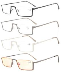 Reading Glasses 4 Pairs Mix Half-Rim with Quality Spring Hinges Include Computer Readers R1613-4pcs-Mix