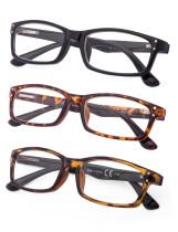 Reading Glasses 3-Pack Classic Rectangle Design Frame Reader R103