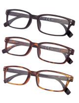 Reading Glasses 3-pack Rectangle Design Frame Reader R097-3pc-Mix