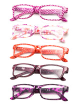 Reading Glasses 5-pack Quality Spring Hinges Patterned Arms with Rectangular Frame R066-5pc-Mix