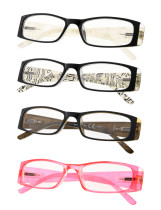 Reading Glasses 4-Pack Gem Pattern Temples with Quality Spring Hinges R006