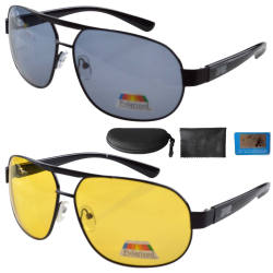 Sunglasses Polarized Night Vision Driving Pilot Include Case S3840-Mix