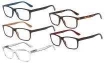 Reading Glasses 5 Pairs Spring Hinges Classic Rectangular Frame R163