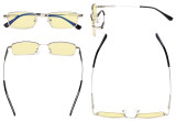 Computer Glasses Blue Blocking for Kids Rectangle Memory Frame-Yellow Tinted Lens Silver TMK1802